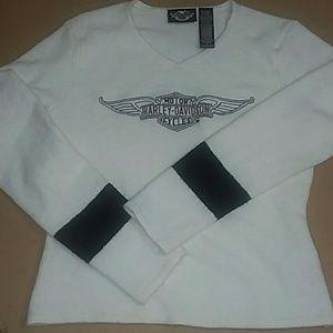 Harley Davidson fluffy/fuzzy white sweater